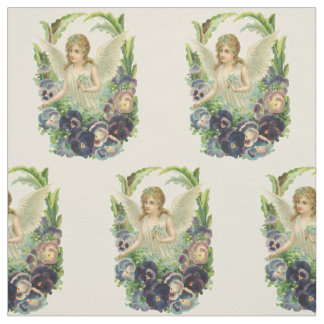 Vintage Religion, Purple Pansy Flower Easter Angel Fabric