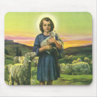 Vintage Religion, Shepherd Boy with Baby Lambs Mouse Pad