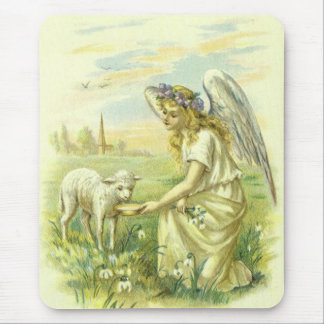 Vintage Religion, Victorian Easter Angel with Lamb Mouse Pad