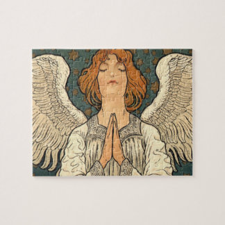 Vintage Religious Angel Praying with Gold Stars Jigsaw Puzzle