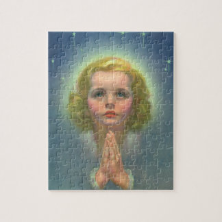 Vintage Religious Children, Girl with Halo Praying Jigsaw Puzzle