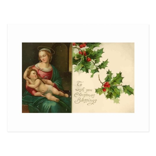 Vintage Religious Christmas Blessings Postcard