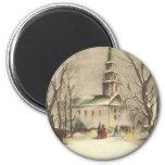 Vintage Religious Christmas, Church, Snow, Winter Refrigerator Magnet
