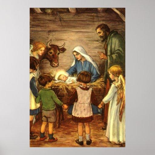Vintage Religious Christmas, Nativity, Baby Jesus Posters