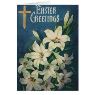 Vintage Religious Easter Greetings, Lily Flowers Card