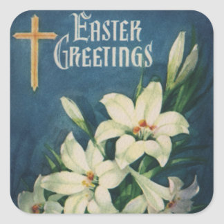 Vintage Religious Easter Greetings, Lily Flowers Square Sticker
