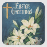 Vintage Religious Easter Greetings with Lilies Square Stickers