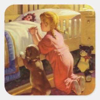 Vintage Religious Girl Praying Pet Dog at Bedtime Square Sticker
