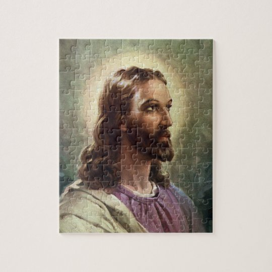 Vintage Religious Portrait, Jesus Christ with Halo Jigsaw Puzzle