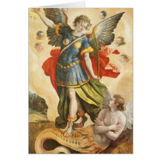Vintage Religious, Saint Michael Defeats Lucifer Card