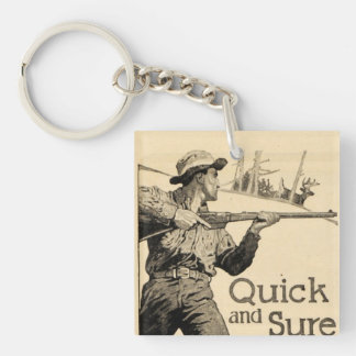 Vintage Remington Rifle Quick Sure Gun Ad Keychain