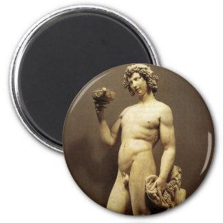 Vintage Renaissance Statue Bacchus by Michelangelo 2 Inch Round Magnet