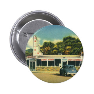 Vintage Restaurant, 50s Drive In Diner and Cars 2 Inch Round Button