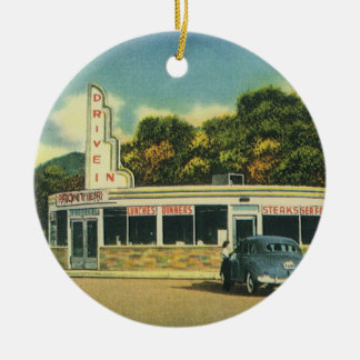Vintage Restaurant, 50s Drive In Diner and Cars Ceramic Ornament