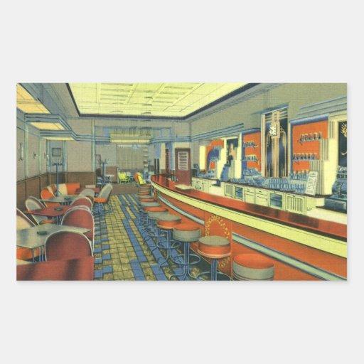 Vintage Restaurant, Retro Roadside Diner Interior Rectangle Stickers