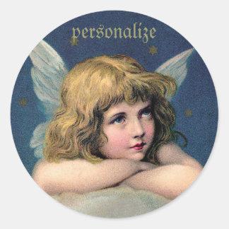 Vintage Resting Angel Round Stickers to Personaliz