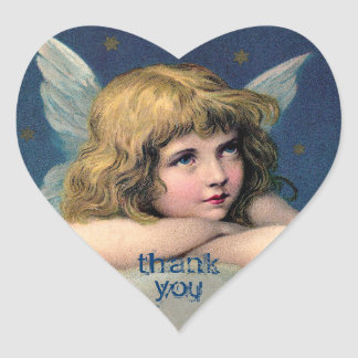 Vintage Resting Angel - Thank You - Heart Stickers