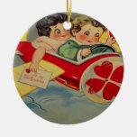 Vintage Retro Airplane Valentine Card Round Ceramic Ornament