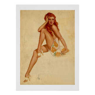 Vintage Retro Alberto Vargas Redhead Pin Up Girl Poster