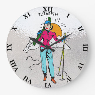 Vintage Retro Alpine Skiing Girl Old Comics Style Large Clock