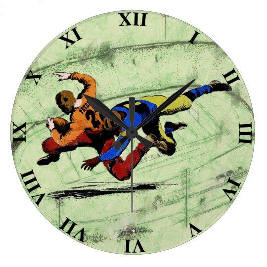 Vintage Retro American Football Players Old Comics Large Clock