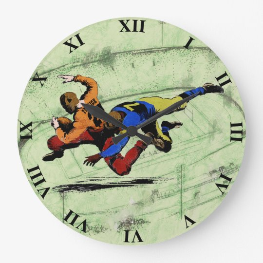 Vintage Retro American Football Players Old Comics Wallclock