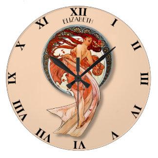 Vintage Retro Art Nouveau Beautiful Dancing Large Clock