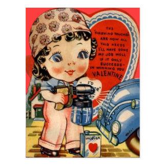Vintage Retro Auto Mechanic Valentine Card Postcard