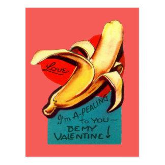 Vintage Retro Banana Valentine Card Postcard