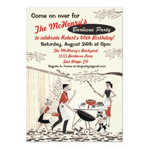 Vintage Retro Barbecue Party Invitation Zazzle