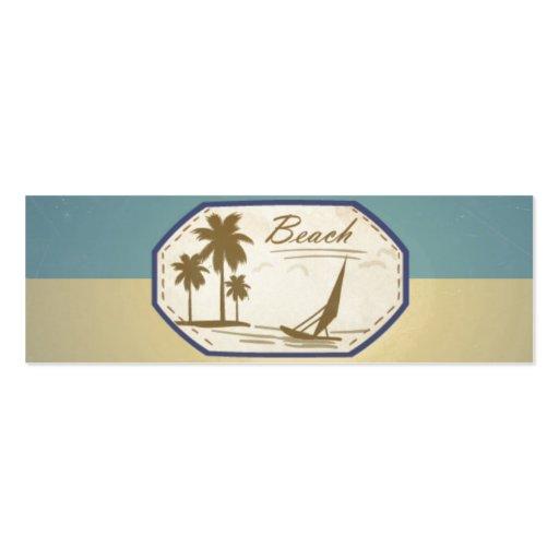Vintage Retro Beach Palm Tree Boat Blue Sepia Tone Business Card Templates