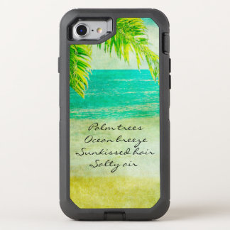 Vintage Retro Beach with Palm Trees Scene OtterBox Defender iPhone 8/7 Case