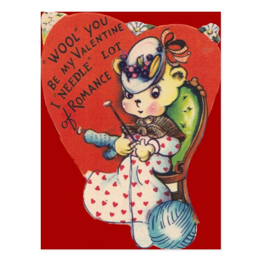 Vintage Retro Bear Knitting Valentine Card