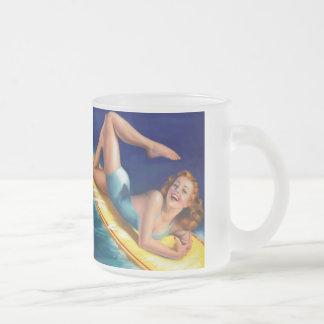 Vintage Retro Billy DeVorss Surfer Pinup girl 10 Oz Frosted Glass Coffee Mug