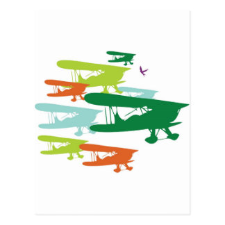 Vintage Retro BiPlane Lonely Sparrow Airplane Desi Postcard