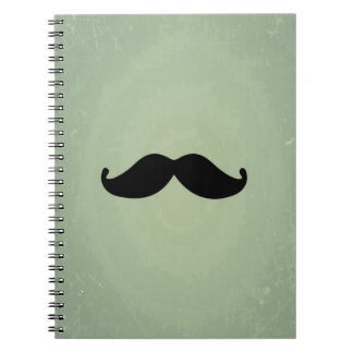 Vintage Retro Black Mustache On Shabby Mint Green Notebook
