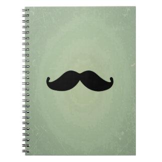Vintage Retro Black Mustache On Shabby Mint Green Notebooks