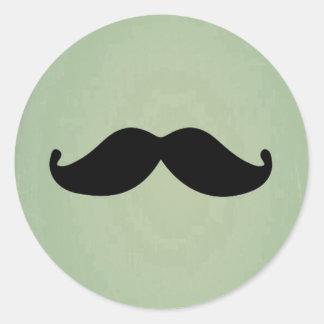 Vintage Retro Black Mustache On Shabby Mint Green Stickers