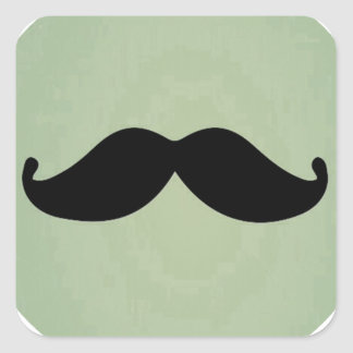 Vintage Retro Black Mustache On Shabby Mint Green Sticker