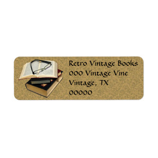Vintage Retro Books Eye Glasses Avery Labels