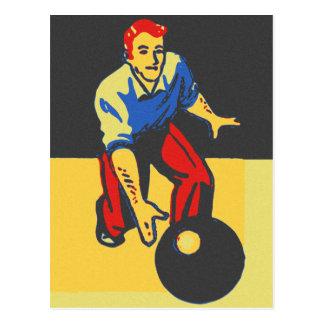 Vintage Retro Bowling Bowler Man Postcard