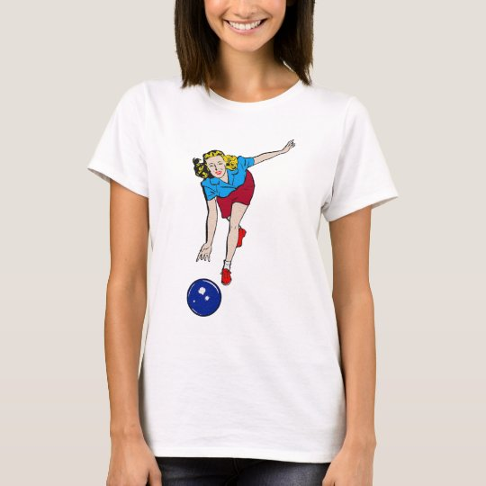 Vintage Retro Bowling Playing Girl Old Comics T-Shirt