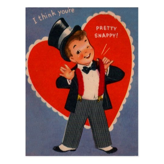 Vintage Retro Boy In Suit Valentine Card