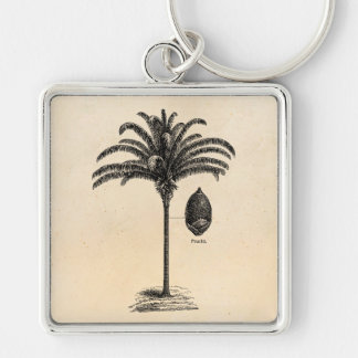 Vintage Retro Brazilian Palm Tree Template Palms Keychain