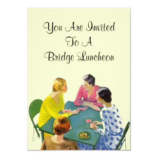 Vintage Retro Bridge Luncheon Party Invitations