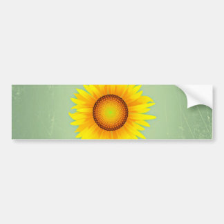 Vintage Retro Bright Yellow Sunflower / Mint Green Bumper Sticker