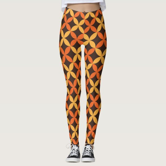Vintage Retro Brown Orange Yellow Pattern Leggings