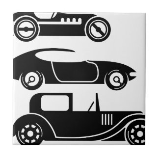 Vintage retro car racing coupe and limo tile