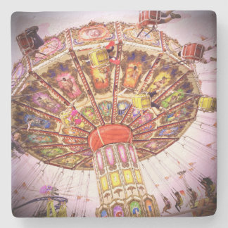 Vintage retro carnival swing ride & pink sky photo stone coaster