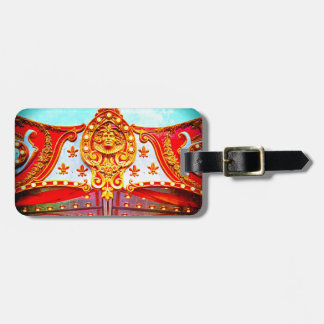 Vintage retro carousel sparkly gold face photo luggage tag